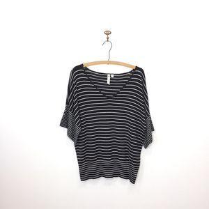 Cable & Gauge black white stripe dolman sweater L